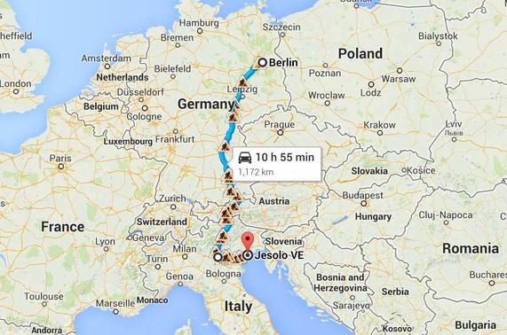 Маршрут метановых SKODA Octavia G-TEC CNG, автопробег Берлин - Джелосо