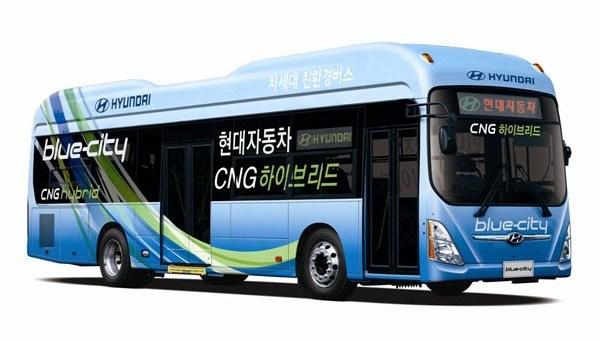 Hyundai hybrid CNG, автобус на метане и электричестве