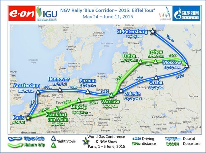 автопробег газовых автомобилей, Голубой коридор 2015, Eiffel Tour, NGV Raly