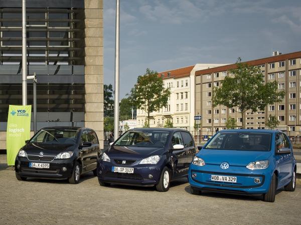Победители эко-рейтинга VCD 2015-2016: Škoda Citigo CNG Green tec, Seat Mii EcoFuel and Volkswagen eco up!