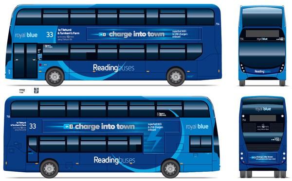 двухэтажный автобус даблдекер, Royal Blue 33, вид сбоку