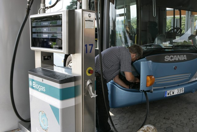 автобус Scania, заправка биогазом, метаном