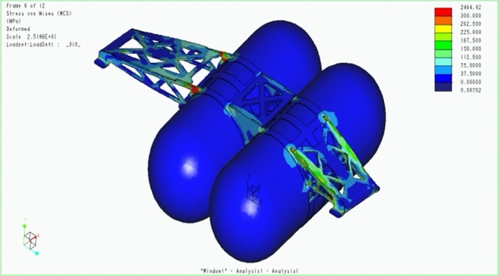 проект рамы с метановыми баллонами в САПР