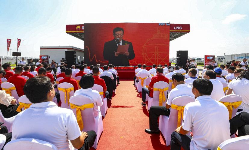 Торжественные мероприятия на старт автопробега в г. Жудун